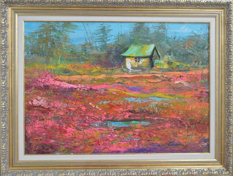 Lovacka kuca, Ivan Milovanovic Vanja, ulje na platnu, sa 67×87 cm, bez 50×70 cm, sertifikat,  190 eura