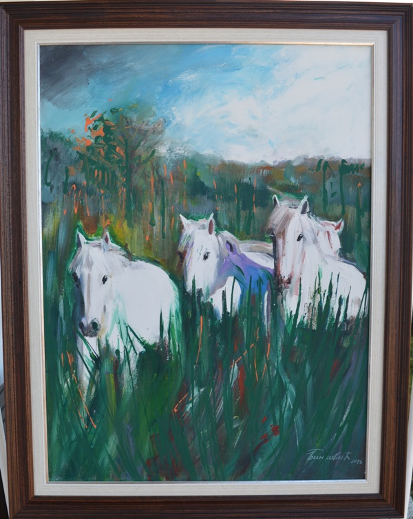 Kroz travu, akademski sl. Goran Bankovic, ulje na platnu, sa 94×74 cm,  bez 80×60 cm, sertifikat, 230 e