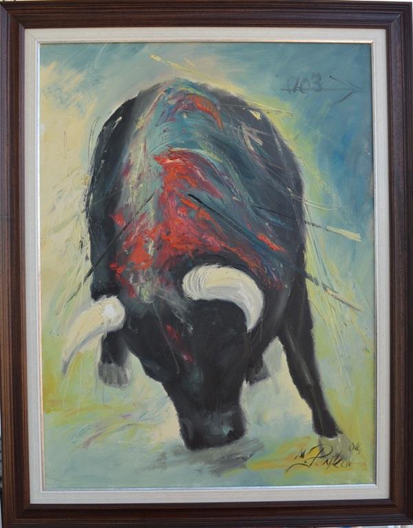 Ranjeni bik, ulje na platnu, sa 94×74 cm,  bez 80×60 cm, akademski slikar Penkov, sertifikat, 330 evra