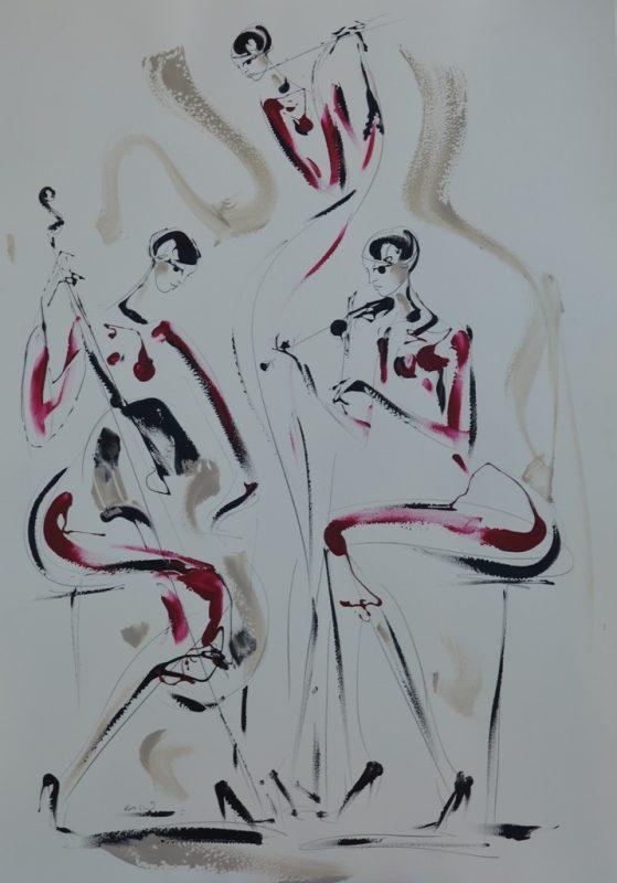 Trio muzicarki II, kombinovana ulje i crtez  na papiru, 100×70 cm, akademski Dusan Rajsic, sertifikat, 300 eura