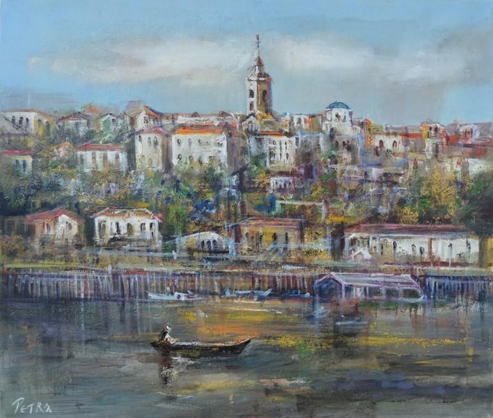Beograd, ulje na platnu, 60×70 cm, sertifikat, akademski slikar Nebojsa Petrovic Petra, 200 eura