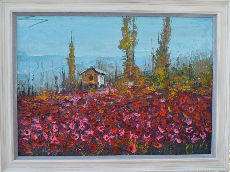 Crveno polje 2, Ivan Milovanovic Vanja, ulje na platnu, sa 61×81 cm, bez 50×70 cm, sertifikat,  190 eura