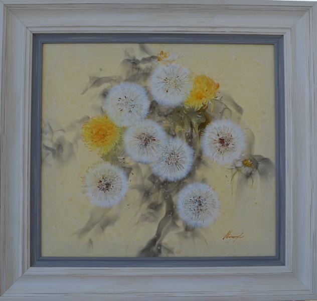 Maslačci 3, akademski slikar  Olga Mirončuk, Rusija,  ulje na platnu, sa 68×73 cm, bez 50×55 cm, sertifikat, 350 e