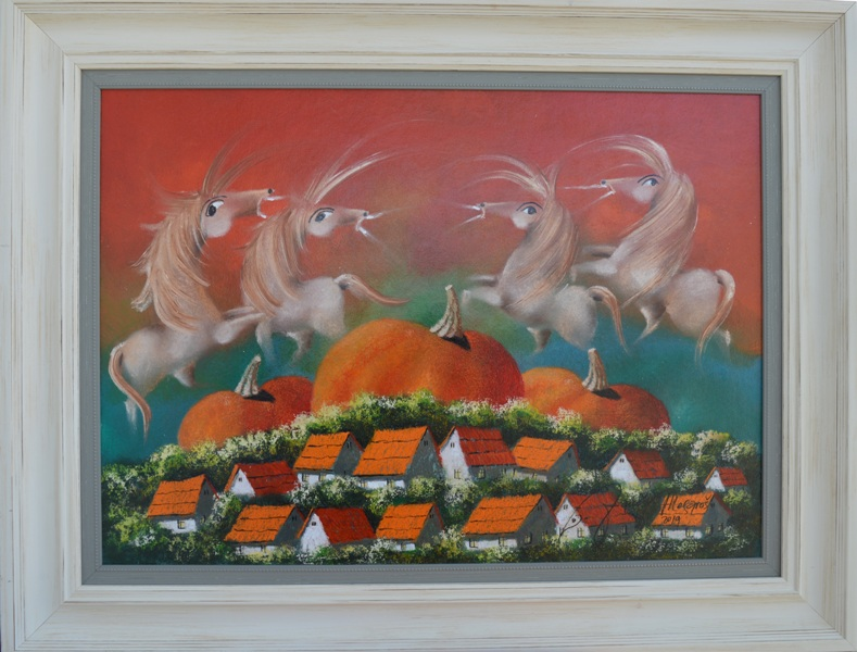 9 U tem Somboru, Janos Mesaros,  kombinovana pastel ulje lak na lesonitu, sa 69×89 cm, bez 50×70 cm, sertifikat, 500 eura