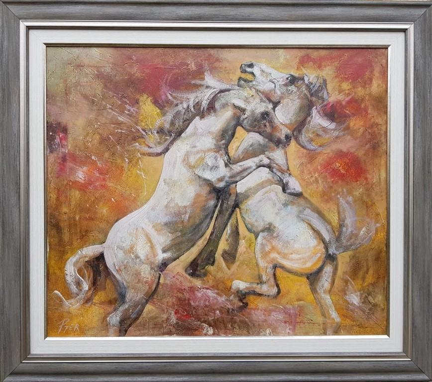 Konji, ulje na platnu, sa 78×88 cm, bez 60×70 cm, akademski slikar Nebojsa Petrovic Petra, sertifikat, 220 eura