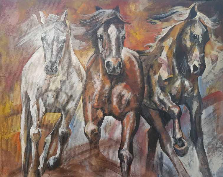 Konji vrani 1, ulje na platnu, 78×98 cm, sertifikat, akademski slikar Nebojsa Petrovic Petra, 400 eura