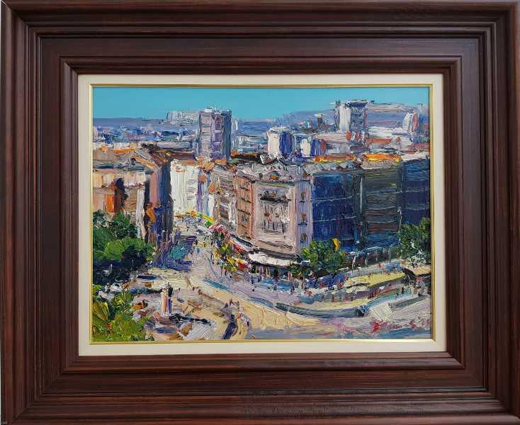 Beograd 8, Đorđe Stanić, ulje na lesonitu, lux ram, sa 47×57 cm, bez 30×40 cm, sertifikat, 140 eura