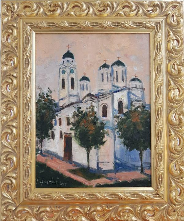 Crkva Smederevo, Radovan Vojinovic, sa 59×49 cm, bez 40×30 cm, ulje na platnu, sertifikat, 110 eura