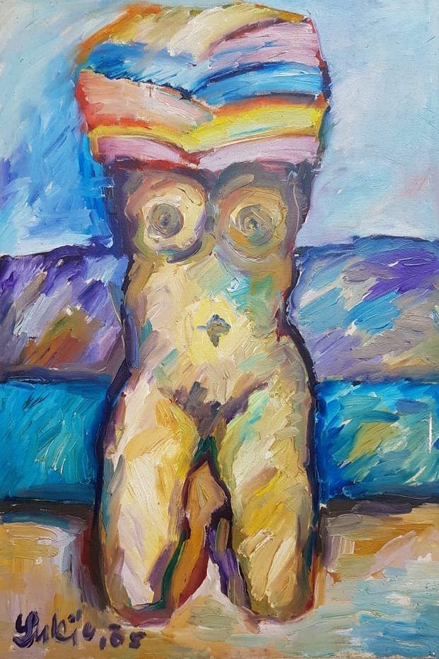 Zena, ulje na platnu, 82×56 cm, slikar Milan Lukic, sertifikat, 200 eura