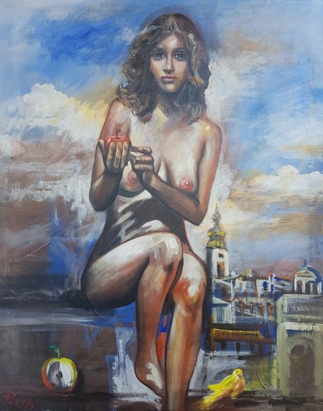 Akt, ulje na platnu, 98×78 cm, sertifikat, akademski slikar Nebojsa Petrovic Petra, 400 eura
