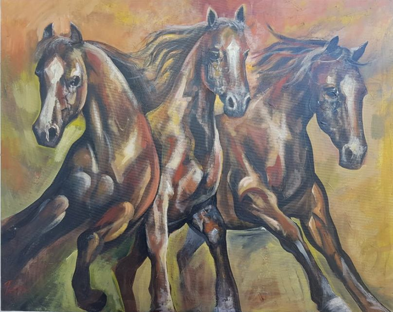 Konji vrani, ulje na platnu, 78×98 cm, sertifikat, akademski slikar Nebojsa Petrovic Petra, 400 eura