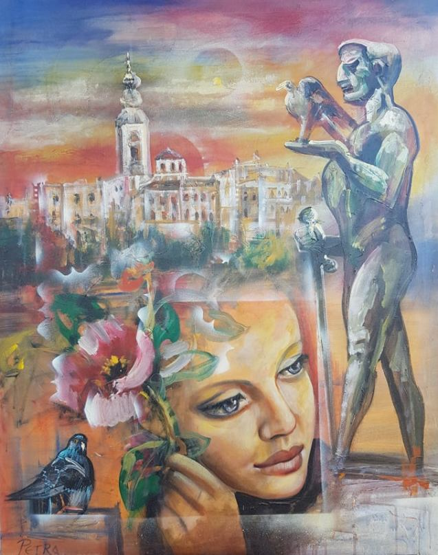 Pobednik, ulje na platnu, 98×78 cm, sertifikat, akademski slikar Nebojsa Petrovic Petra, 400 eura