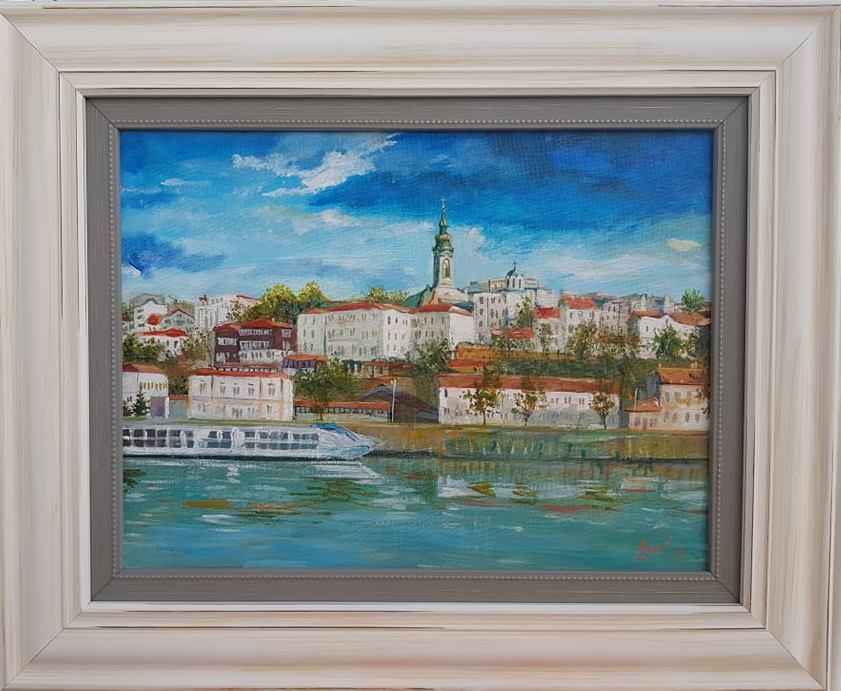 Beograd 3, Marija Djukic, ulje na platnu, sa 47×57 cm, bez 30×40 cm,  sertifikat, 90 eura