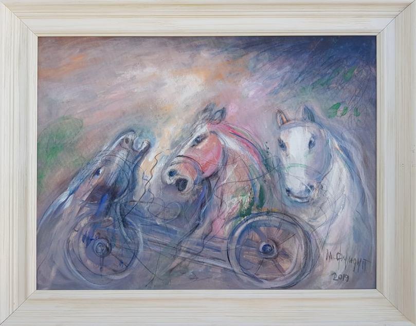 Divlji konji, Momcilo Moma Fundup, ulje na platnu, sa 73×93 cm, bez 60×80 cm, sertifikat, 300 eura