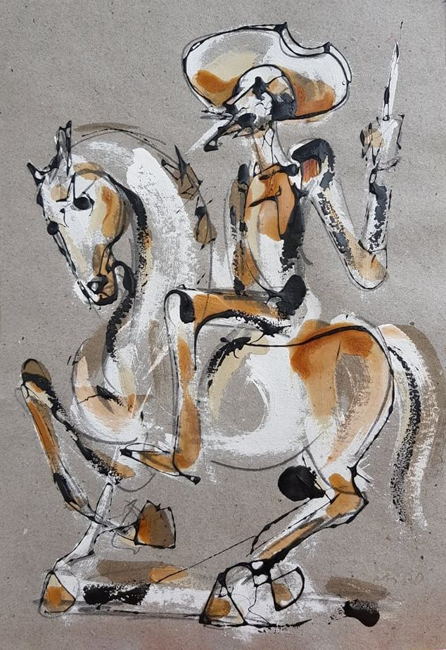 Don Kihot, kombinovana tehnika crtez na papiru, 50×35 cm, akademski Dusan Rajsic, sertifikat, 60 eura