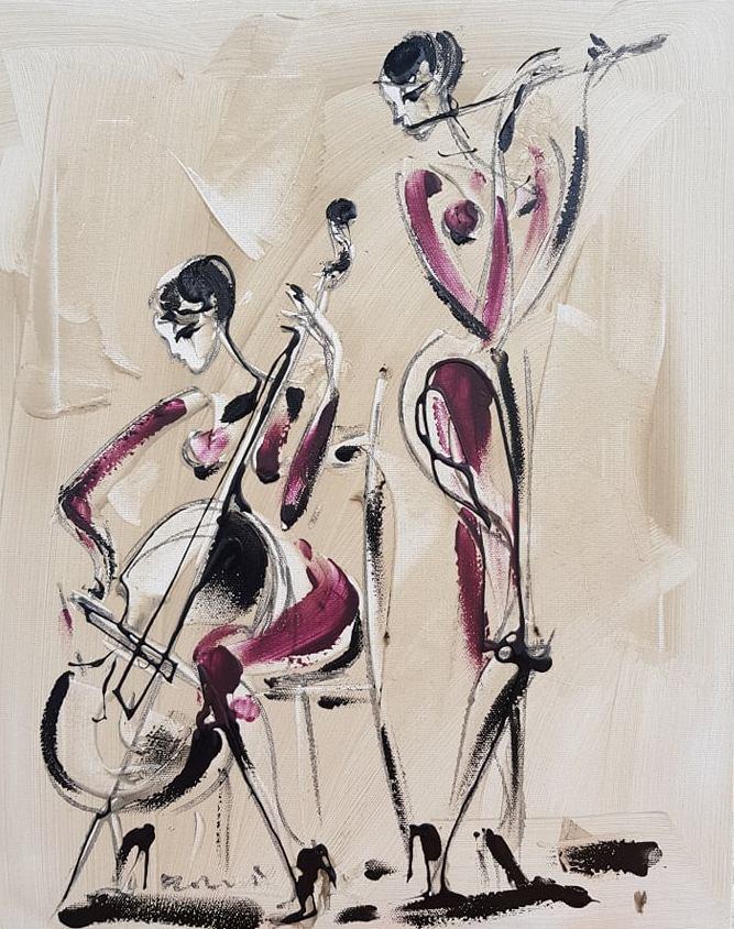 Duet muzicarki 2, akril na platnu, 50×40 cm, akademski Dusan Rajsic, sertifikat, 90 eura