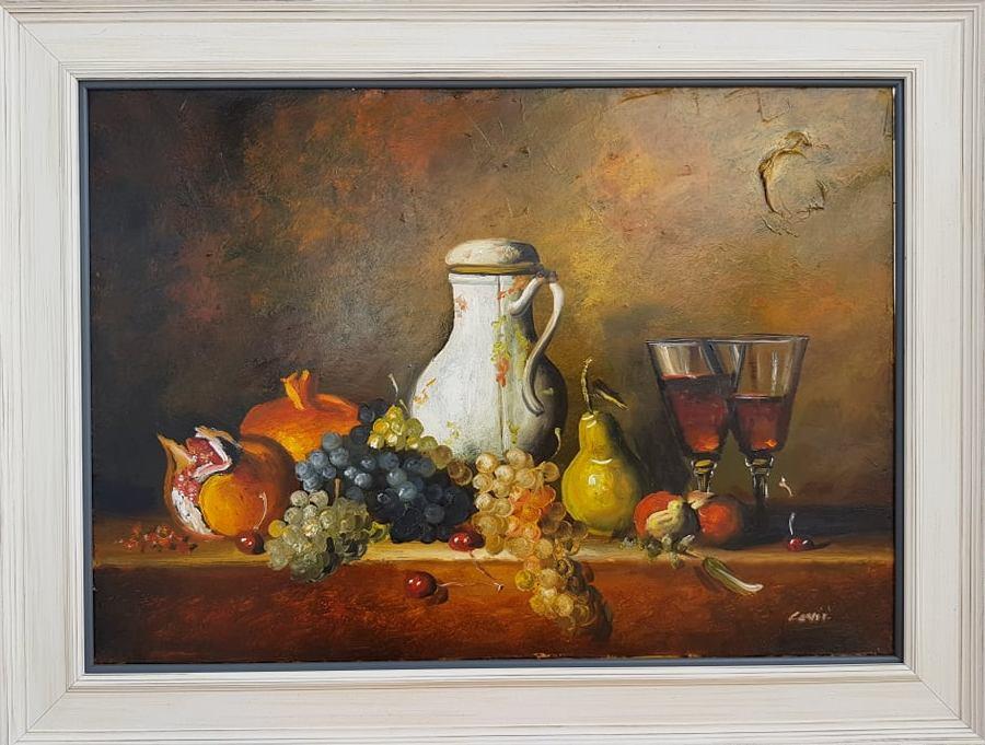 Mrtva priroda velika 1, ulje na platnu, sertifikat, sa 64×84 cm, bez 70x50cm, Dragan Canić, 190 evra