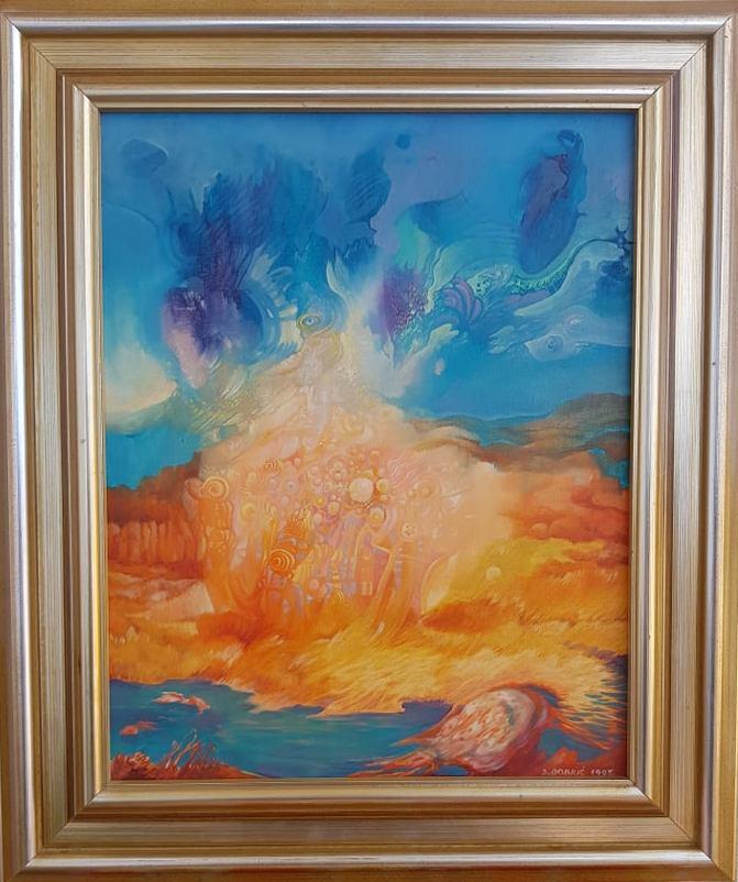 Plavi predeo, Sasa Dobric, ulje na platnu, uramljena, sa 46×54 cm, bez 30×38 cm, 1995.god, sertifikat, 300 eura