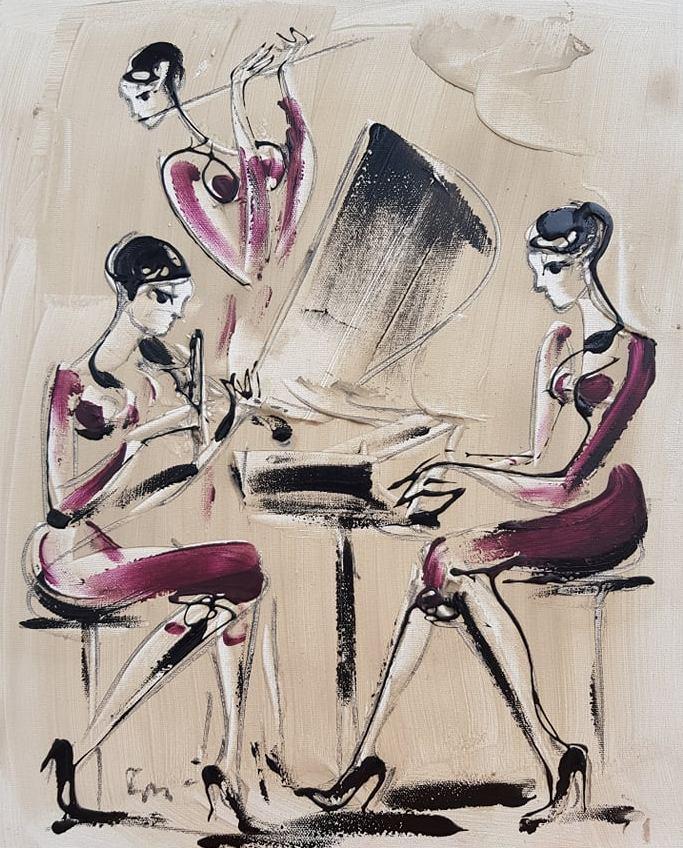 Trio 1, akril na platnu, 50×40 cm, akademski Dusan Rajsic, sertifikat, 90 eura