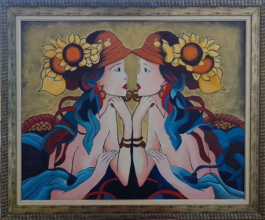 Devojka sa suncokretom, Dusko Trifunovic, sa 97×117 cm, bez 80×100 cm, ulje na platnu, lux ram, sertifikat, 600 eura