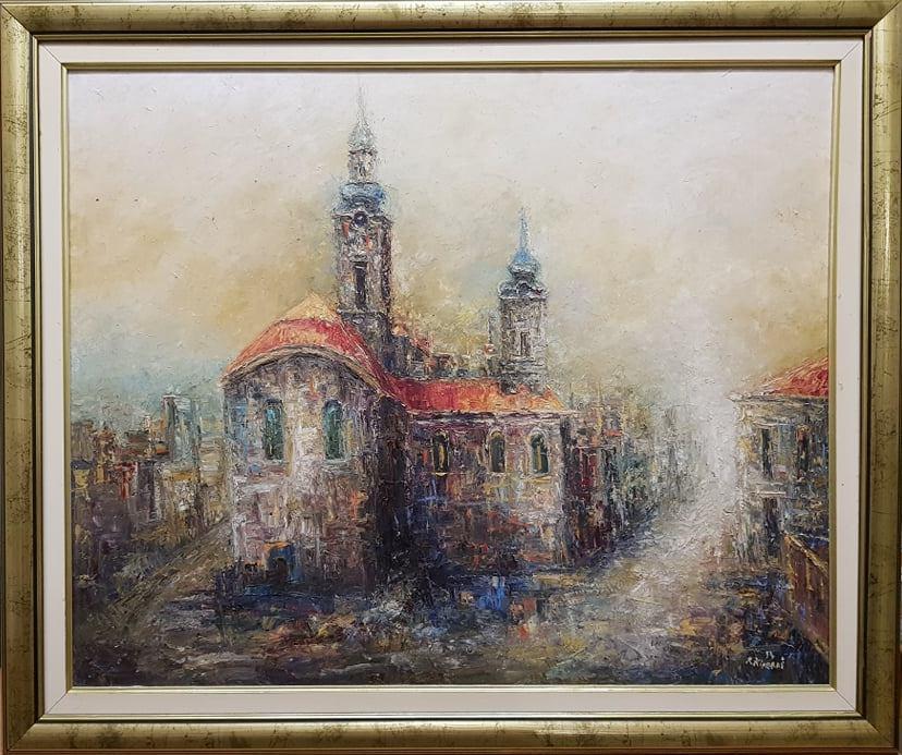 Grad , Risto Kiperas, ulje na platnu, sa 78×92 cm, bez 64×78 cm, originalan ram, sertifikat, 800 eura