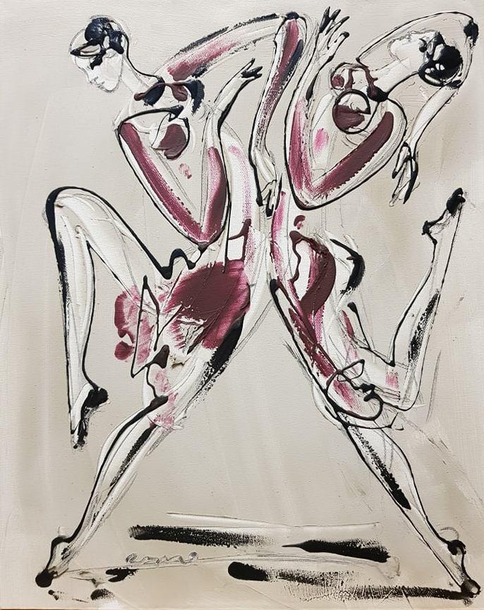 Plesacice 2, akril na platnu, 50×40 cm, akademski Dusan Rajsic, sertifikat, 90 eura