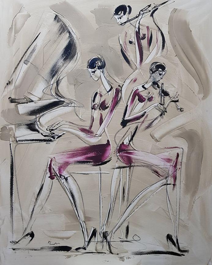Trio muzicira 1, akril na platnu, 100×80 cm, akademski Dusan Rajsic, sertifikat, 500 eura