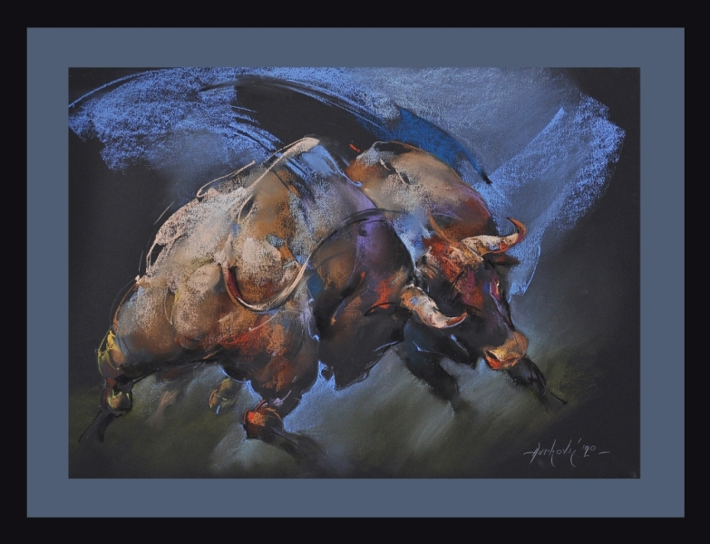 Borba bikova, pastel uramljen, bez 50×70 cm, sa 65×85 cm, akademski Braca Djurkovic, sertifikat, 300 eura