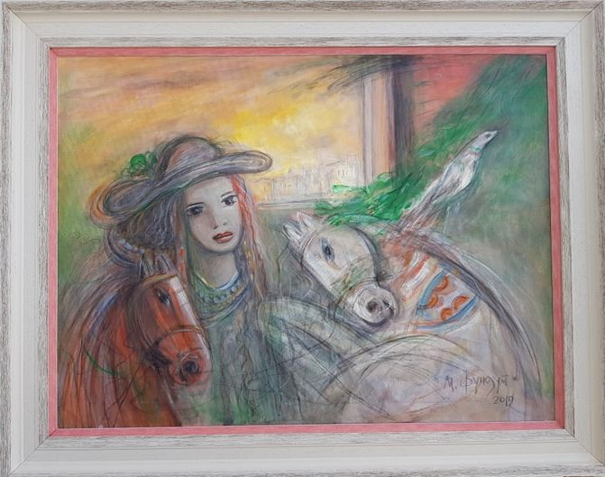 Dama i konji, Momcilo Moma Fundup, ulje na platnu, sa 73×93 cm, bez 60×80 cm, sertifikat, 300 evra