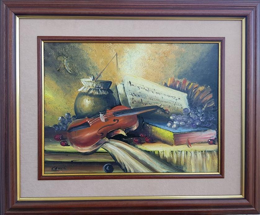 Mrtva priroda srednja 1,   Dragan Canic, ulje na platnu, sertifikat,   luksuzno uramljena, sa 49×59 cm, bez 30×40 cm, 100 eura
