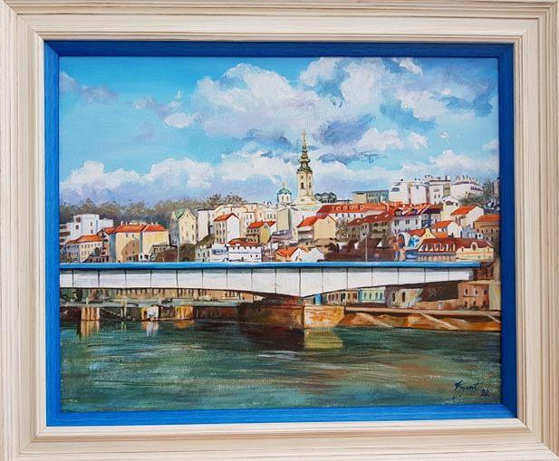 Beograd 4, Marija Djukic, ulje na platnu, sa 51×61 cm, bez 40×50 cm, sertifikat, 120 eura