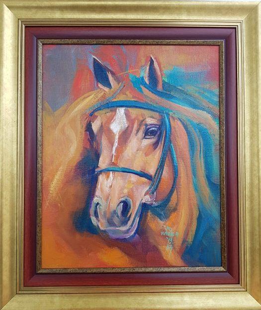 Glava konja 2, ulje na platnu, Ljiljana Ilić Petrović AZ, sa 63X54 cm, bez 47X38 cm, sertifikat, 150 eura