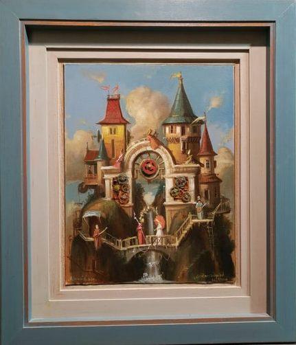 Grad nostalgicnih skitnica, Goran Mitrovic, sa 69×59 cm, bez 45×35 cm, ulje na platnu kasirano, luksuzno uramljena, sertifikat, 600 eura