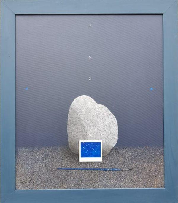 Kamen sa reke, Aleksandar Cvetkovic, sa 81×71 cm, bez 70×60 cm,   kombinovana tehnika na platnu, 2018. , sertifikat, 1500 eura