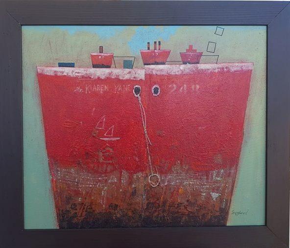 Super tanker Karen Kane, Aleksandar Cvetkovic, sa 61×71 cm, bez 50×60 cm,  kombinovana tehnika na platnu, 2019., sertifikat, 700 eura