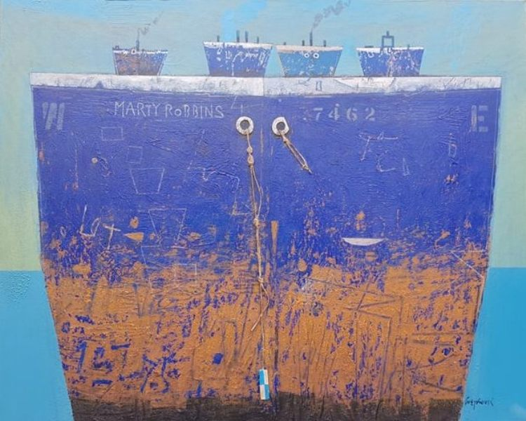 Super tanker Marty Robbins, Aleksandar Cvetkovic, 80×100 cm, kombinovana tehnika na platnu, 2019., sertifikat, 2150 eura