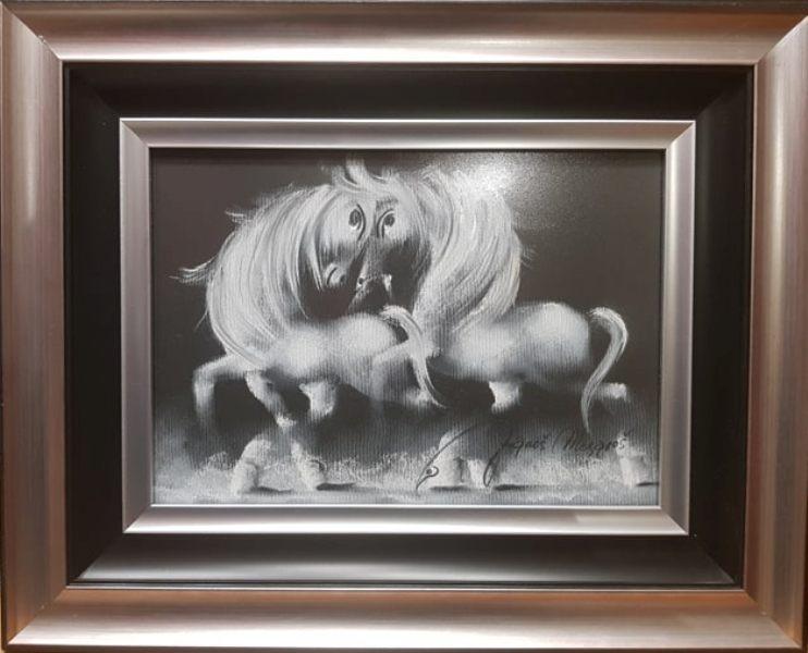 Crno beli san, pastel, luksuzno uramljen, sa 42×52 cm, bez 25×35 cm, sertifikat, Janos Mesaros, 150 eura