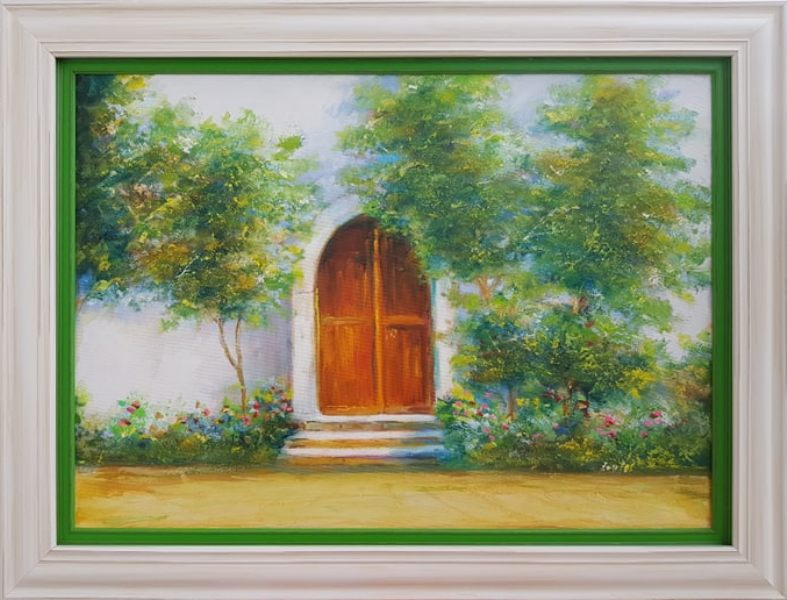 Cvetna vrata, Darko Bartos, ulje na platnu, sa 65×85 cm, bez 50x70cm, lux ram, sertifikat, 180 evra