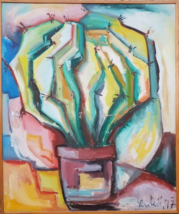 Kaktus, Milan Lukic, ulje na platnu, sa 123×103 cm, bez 120×100 cm, 1997., sertifikat, 450 evra