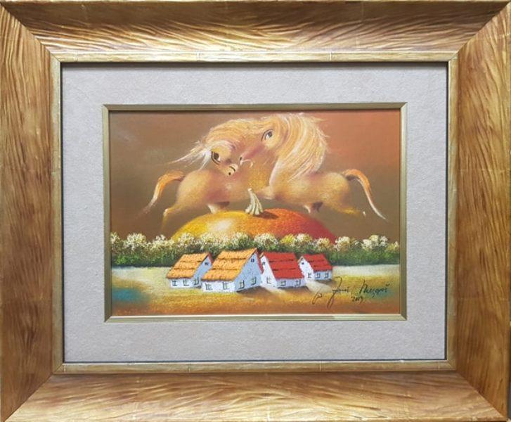 Narandzasta igra, kombinovana tehnika ulje lak pastel, luksuzno uramljen, sa 48×58 cm, bez 25×35 cm, sertifikat, Janos Mesaros, 180 eura