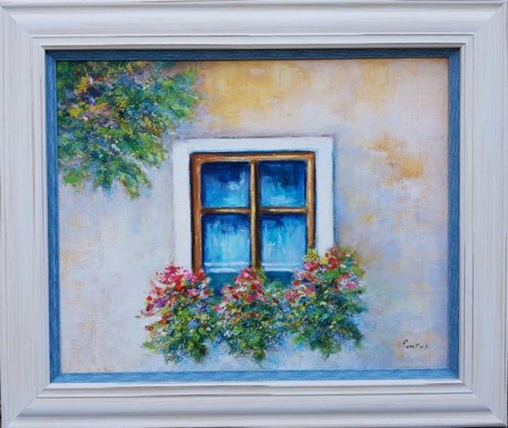 Prozor, Darko Bartos, ulje na platnu, sa 53×63 cm, bez 40x50cm, sertifikat, 120 evra