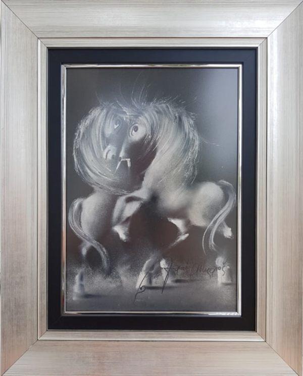 Crno beli par, pastel, luksuzno uramljen, sa 50×40 cm, bez 35×25 cm, sertifikat, Janos Mesaros, 150 eura