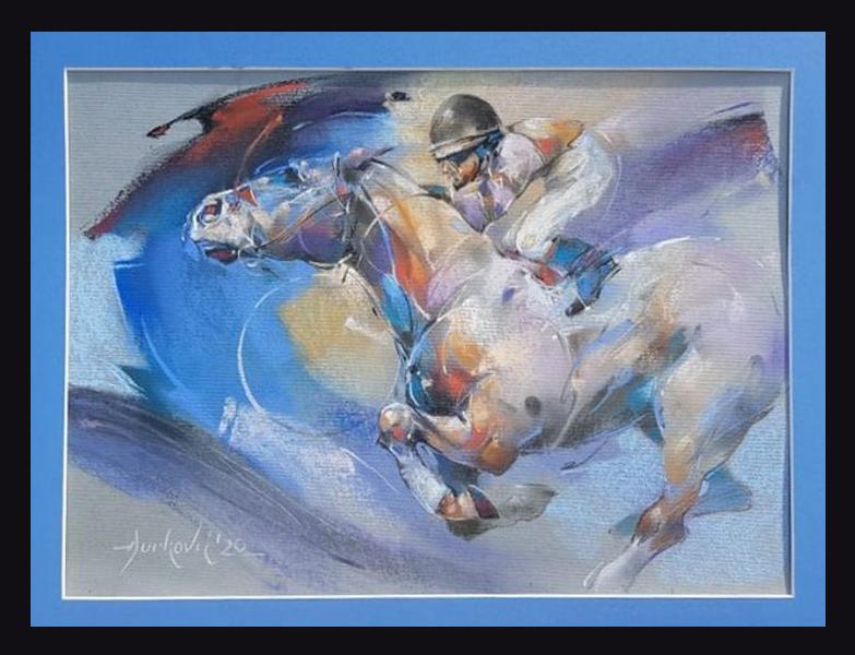 Dzokej, Braca Djurkovic, pastel, sa 49×63 cm, bez 45×50 cm, lux ram, sertifikat, 210 eura