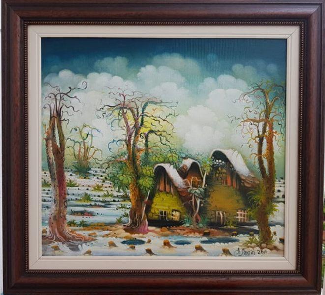 Selo, Adam Mezin, ulje na platnu, lux ram, 2019., sa 60×65 cm, bez 45×50 cm, sertifikat, 300 eura