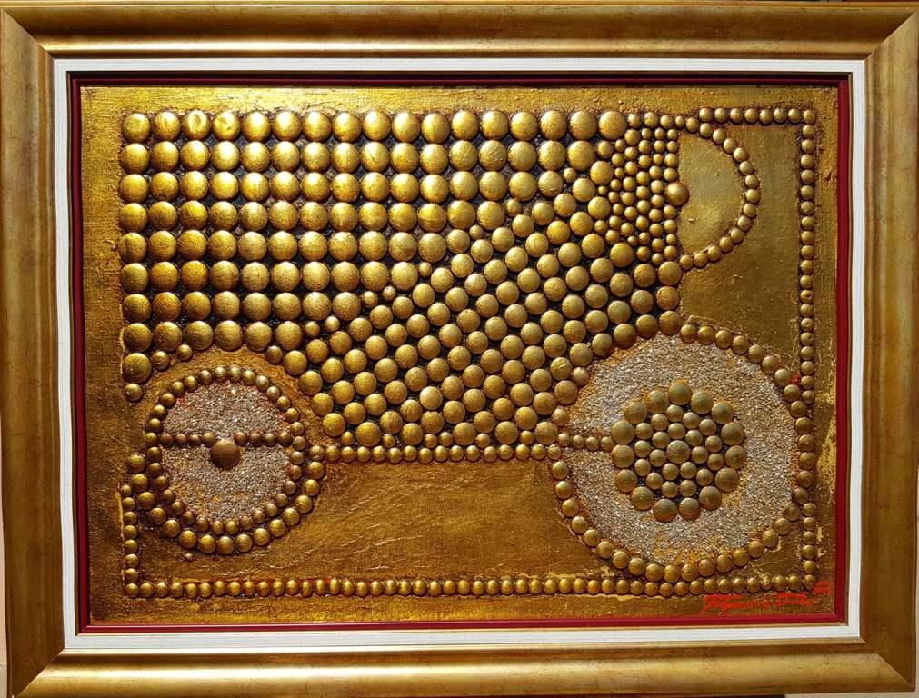 Balans, Dusko Trifunovic, sa 63×83 cm, bez 50×70 cm, metalne nitne pozlata i ulje na platnu, sertifikat, 900 eura