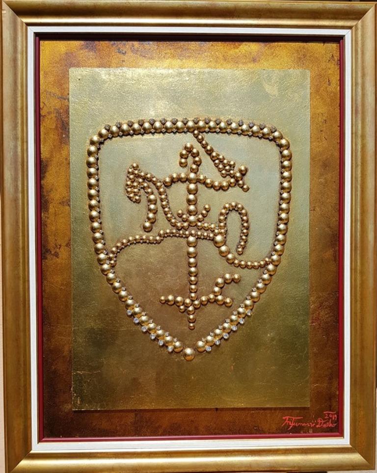 Koren moci, Dusko Trifunovic, sa 90×7 cm, bez 77×58 cm, metalne nitne pozlata i ulje na lesonitu, sertifikat, 1.200 eura