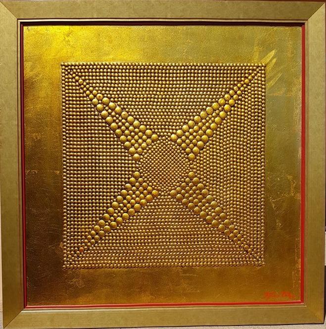 Milost svetlosti, Dusko Trifunovic, sa 116×116 cm, bez 101×101 cm, metalne nitne pozlata i ulje na lesonitu, sertifikat, 2.000 eura