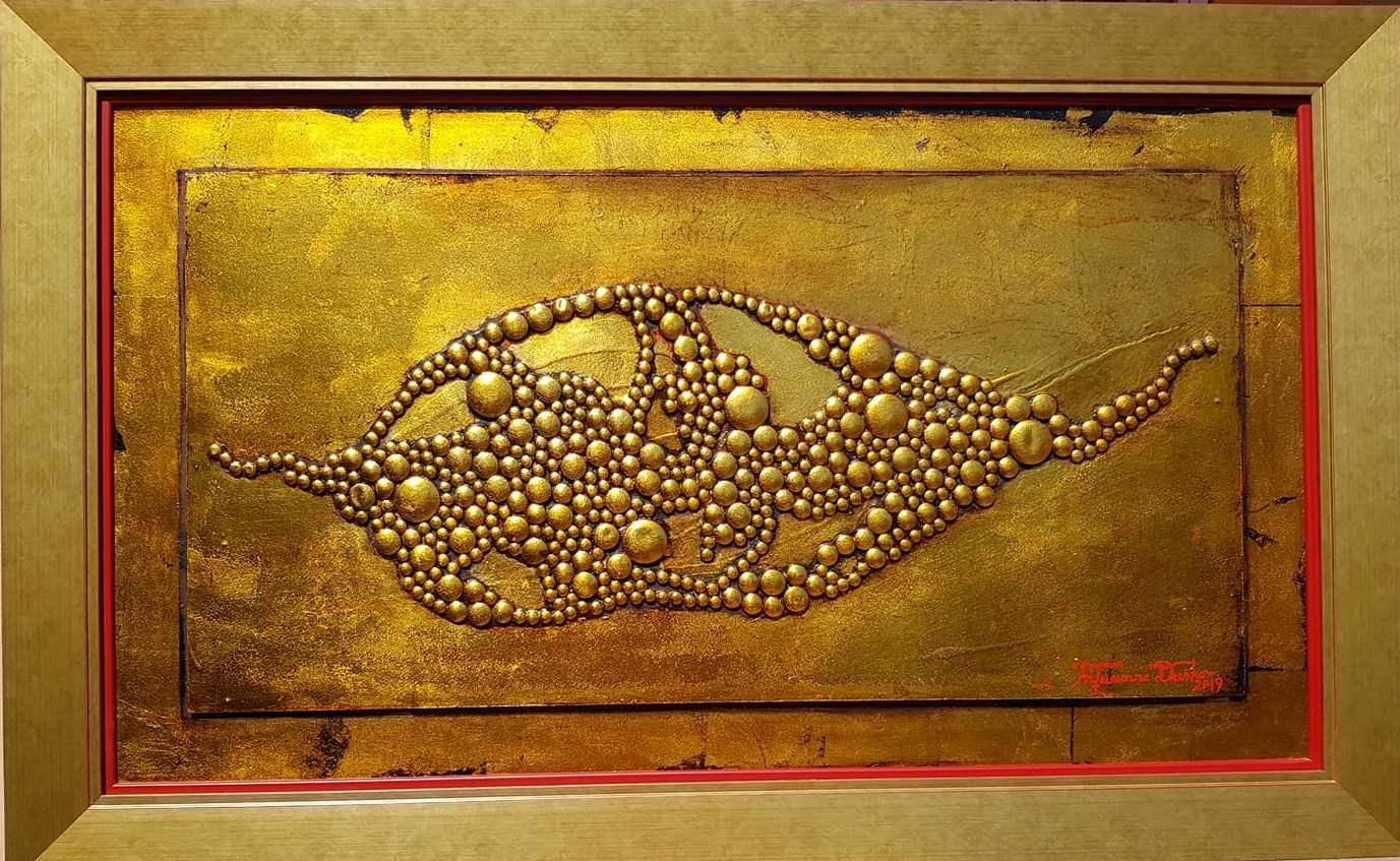 Nadahnuce zelja, Dusko Trifunovic, sa 70×103 cm, bez 55×98 cm, metalne nitne pozlata i ulje na lesonitu, sertifikat, 1.000 eura