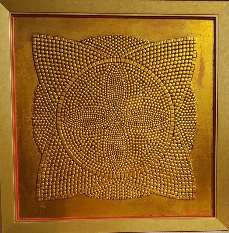 Bliskost, Dusko Trifunovic, sa 115×115 cm, bez 101×101 cm, metalne nitne pozlata i ulje na lesonitu, sertifikat, 2.000 eura