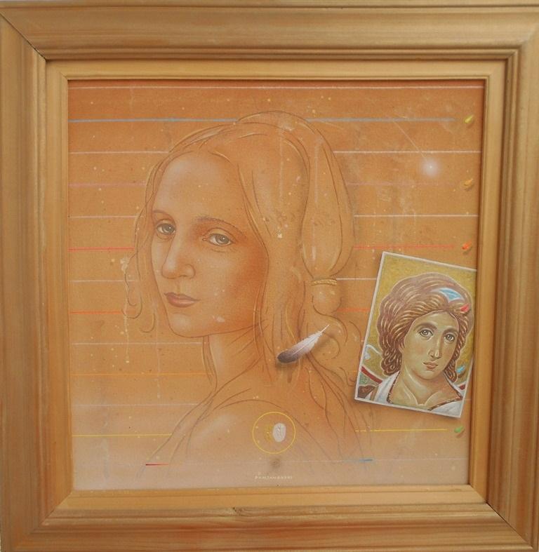 Secanje na andjela, Bozidar Damjanovski, akril-glina na platnu, sa 53×53 cm, bez 40×40 cm, 1992, sertifikat, 900 evra